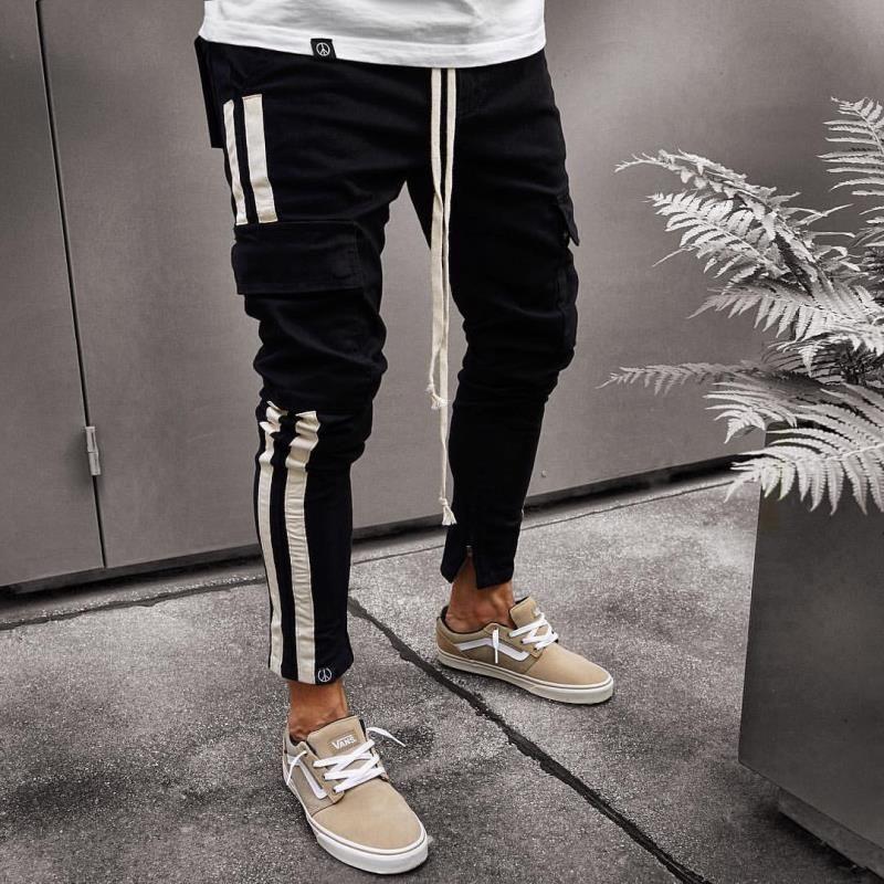 2018. Новые мужские Joggers Черно-белая полоса Slim Fit беговые брюки кулиской Sweatpants S - 3XL
