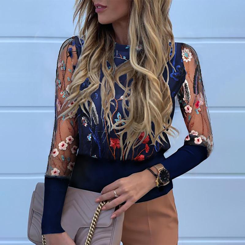 Floreale del merletto del ricamo camicetta Tops Femminile lungo Lanterna manica Camicie donna Primavera Estate 2020 Retro Ufficio modo delle signore Camicia