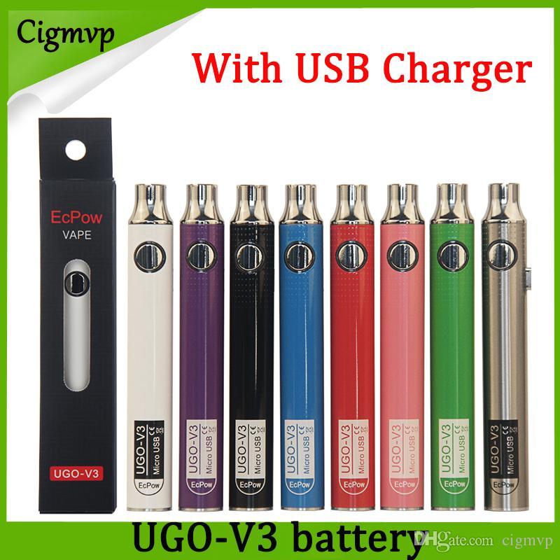 Autêntico Evod UGO V 650mAh 900mAh Ego 510 Bateria 8 cores Micro USB Charge Passthrough E-cig O Caneta Vape Batterry