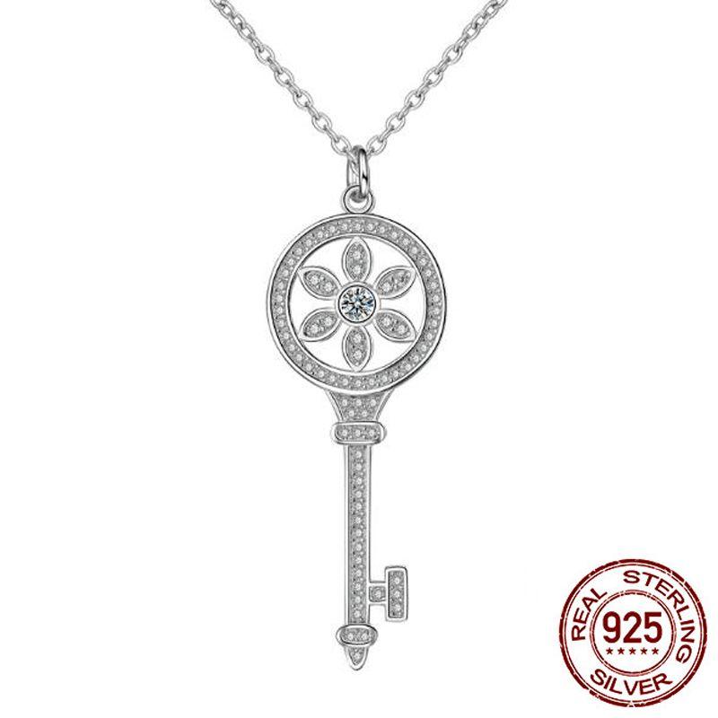 Fashion Statement Necklaces for Women Luxury Jewelry CZ Zircon 100% 925 Sterling Silver Key Pendants Necklace X037