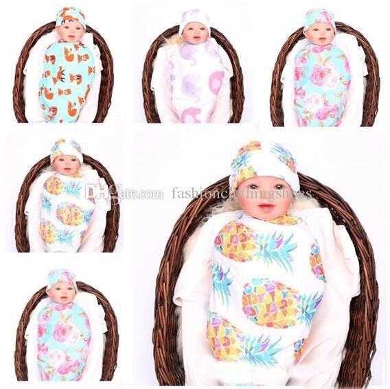 Neugeborenes Baby Decke Ananas Elefant Swaddle Schlafsäcke mit Hut Schlafsack Kinderwagen Wrap Outwear Fox 5 Farben Decke Freies Verschiffen