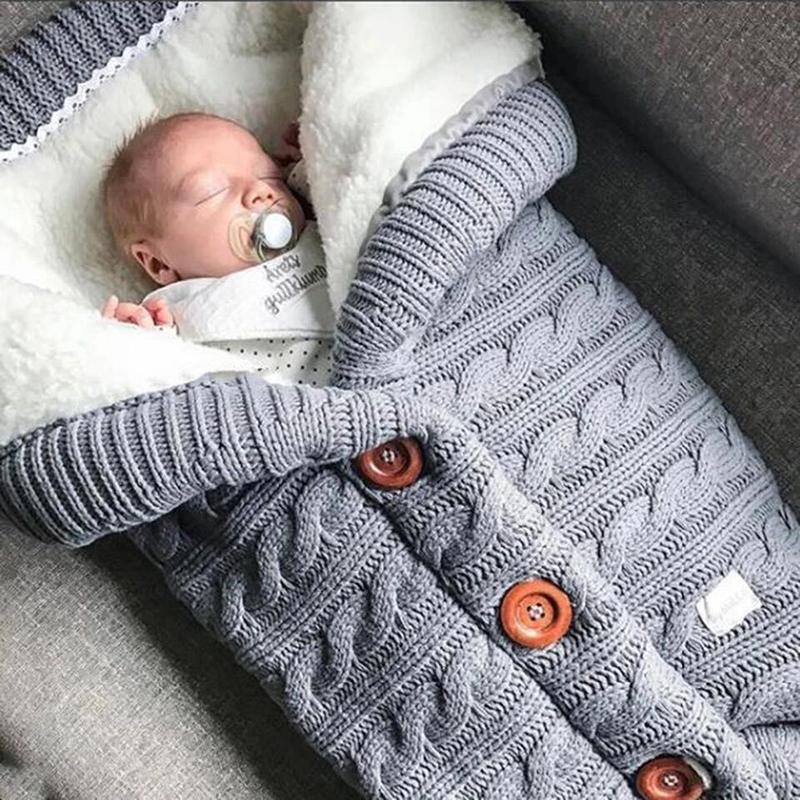 Bebek Çantası Footmuff Bebek Düğme Örme Kundaklama Pamuk Örme Zarf Yenidoğan Swadding Wrap Bebek Arabası Aksesuarı Sleeping ısıtın