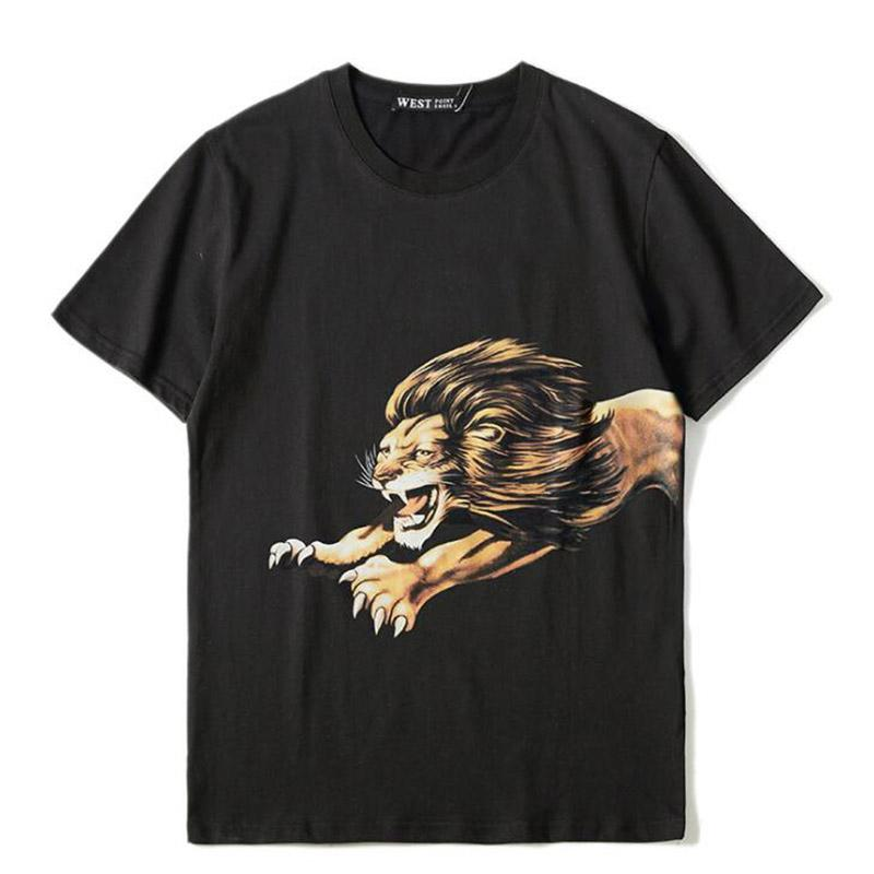 Fashion Mens Design T Shirt Casual Lion Printing Design T Shirt Short Sleeves Men Women Hip Hop Tees