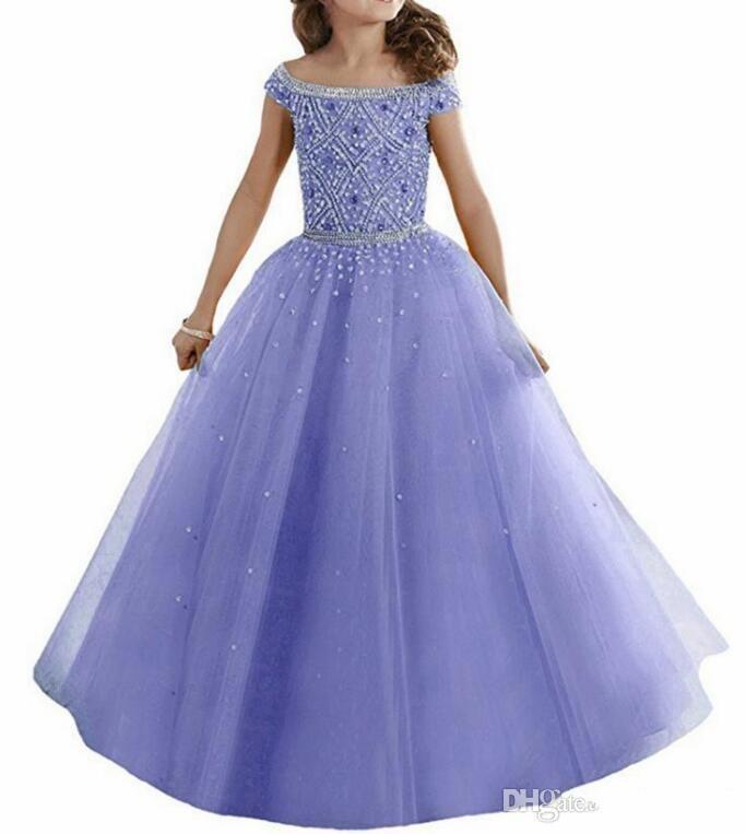 Custom Made Kızlar Pageant Elbiseler Prenses Kapalı Omuzlar Kristaller Boncuklu Korse Geri Çiçek Kız Elbise Çocuklar Örgün Giyim