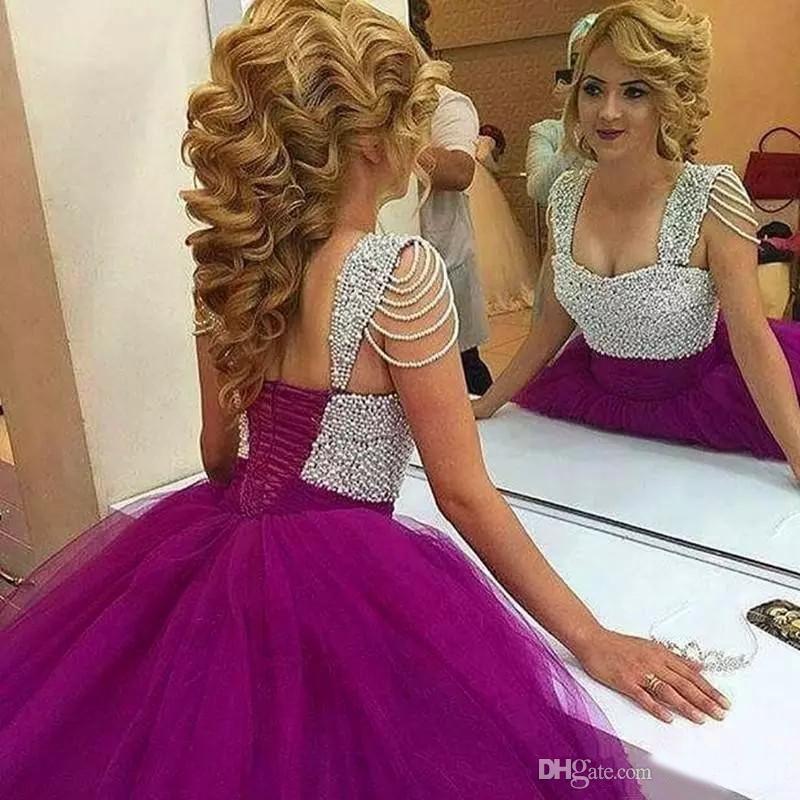 New Purple Bedaed Pérolas Prom vestido De Baile Doce 16 Vestido Princesa Tulle Quinceanera Vestidos Custom Made