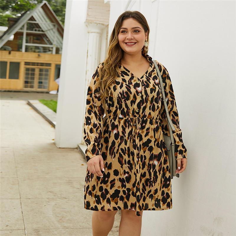 Varios vestidos para mujer Tamaño más vestidos de otoño leopardo cuello en V vestido de manga larga más el tamaño de leopardo de las mujeres diseñador Dayly Ropa