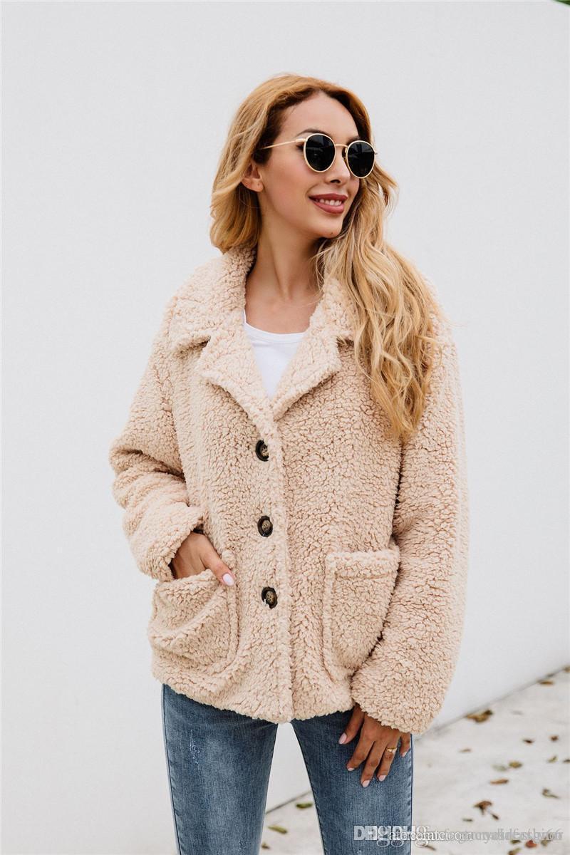Invierno de las mujeres diseñador con paneles de capa de la manera Solid solapa del cuello chaquetas flojas ocasionales de la manga larga Mujer Prendas de abrigo