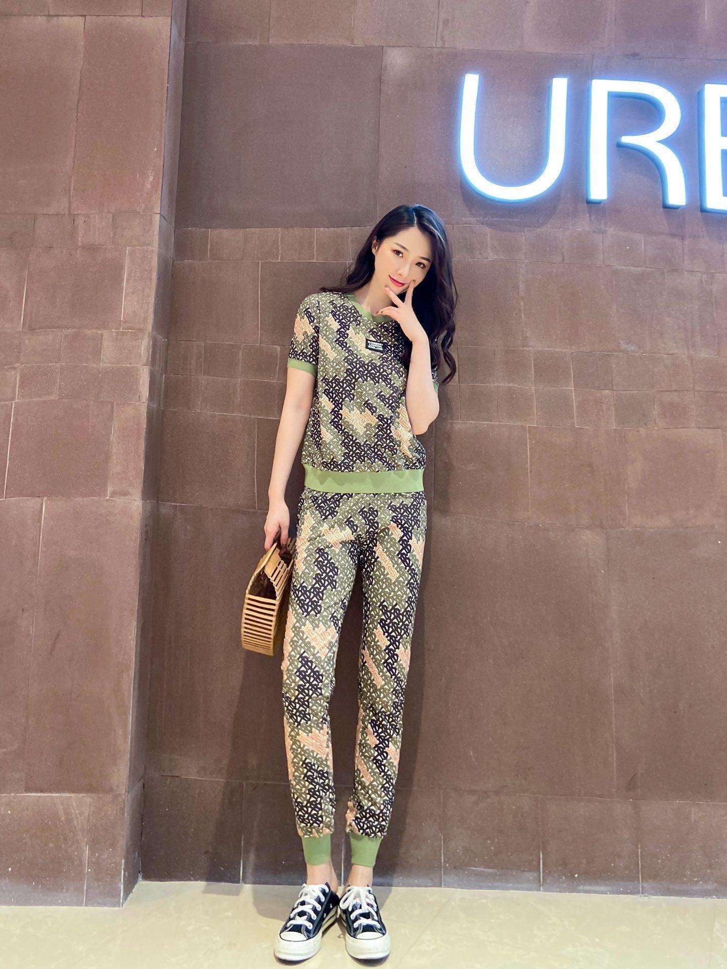 Tops 2020 calças conjuntos de alta qualidade + calças 2pcs primavera e verão casuais conjuntos de vestuário de moda LAI0