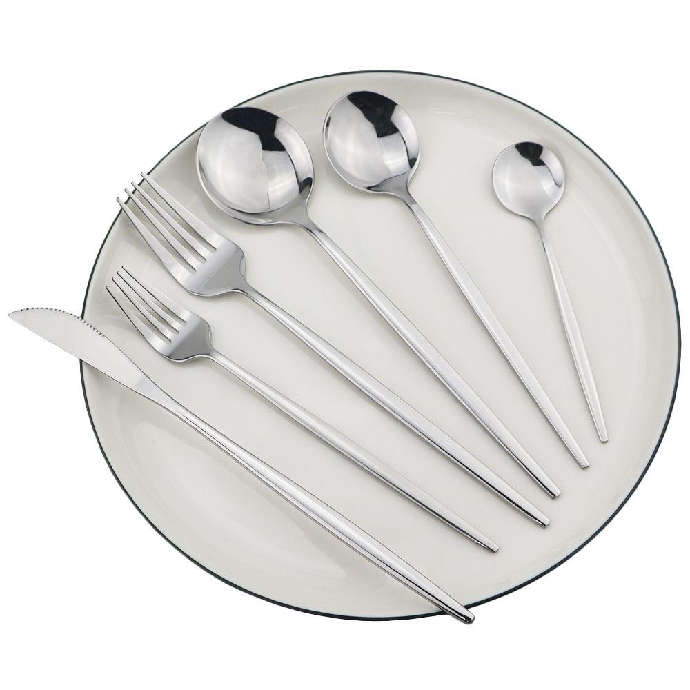 Argent de vaisselle 18/10 Couverts en acier inoxydable Couteau Dessert Fourchette Cuillère Dîner table de cuisine Argenterie