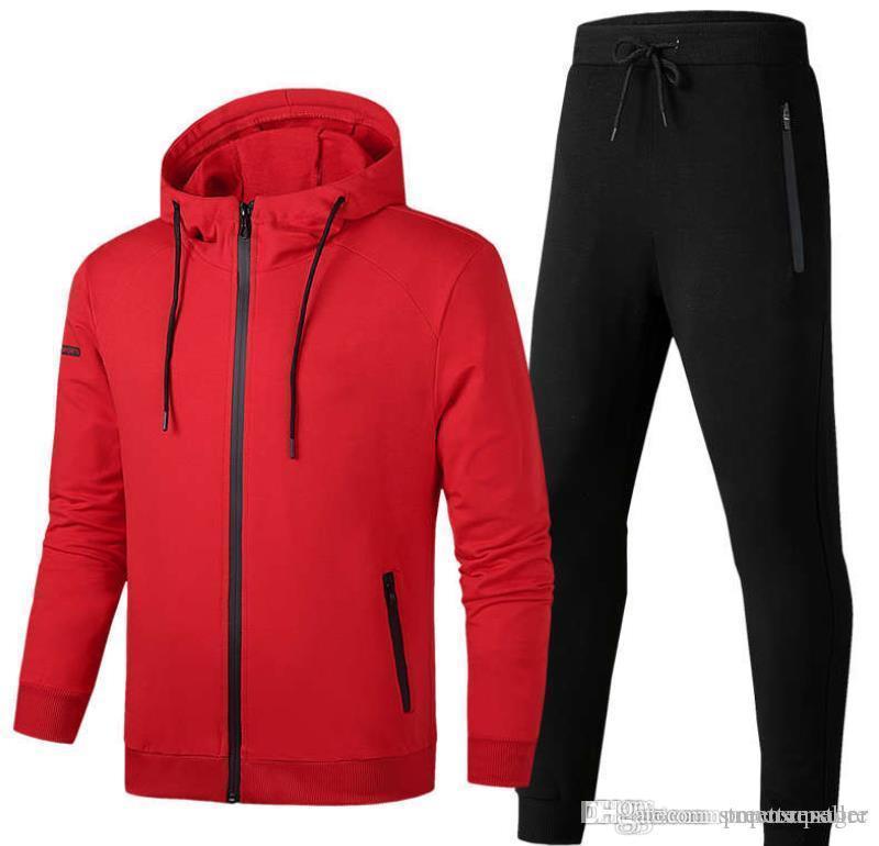 Mens ocasionales de los deportes de moda chándales Sudaderas Pantalones 2pcs sistemas de la ropa de marca Hombres Trajes