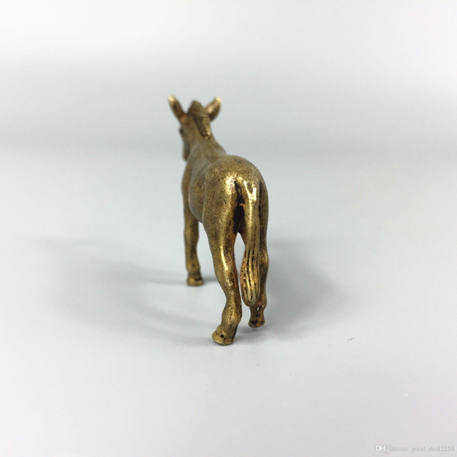 Rare Collection Chinois Ancien En Laiton Travail À La Main Swift Horse Figurine Statue Antique