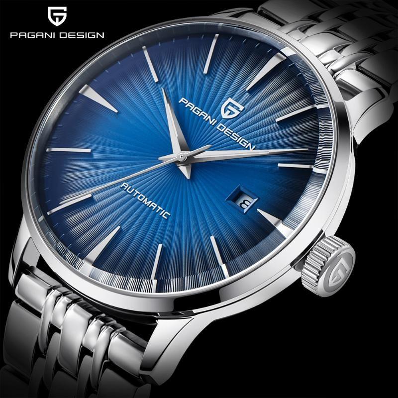 Manera ocasional de los relojes mecánicos del 30M impermeable del acero inoxidable reloj automático de negocios Saat PAGANI hombres del diseño