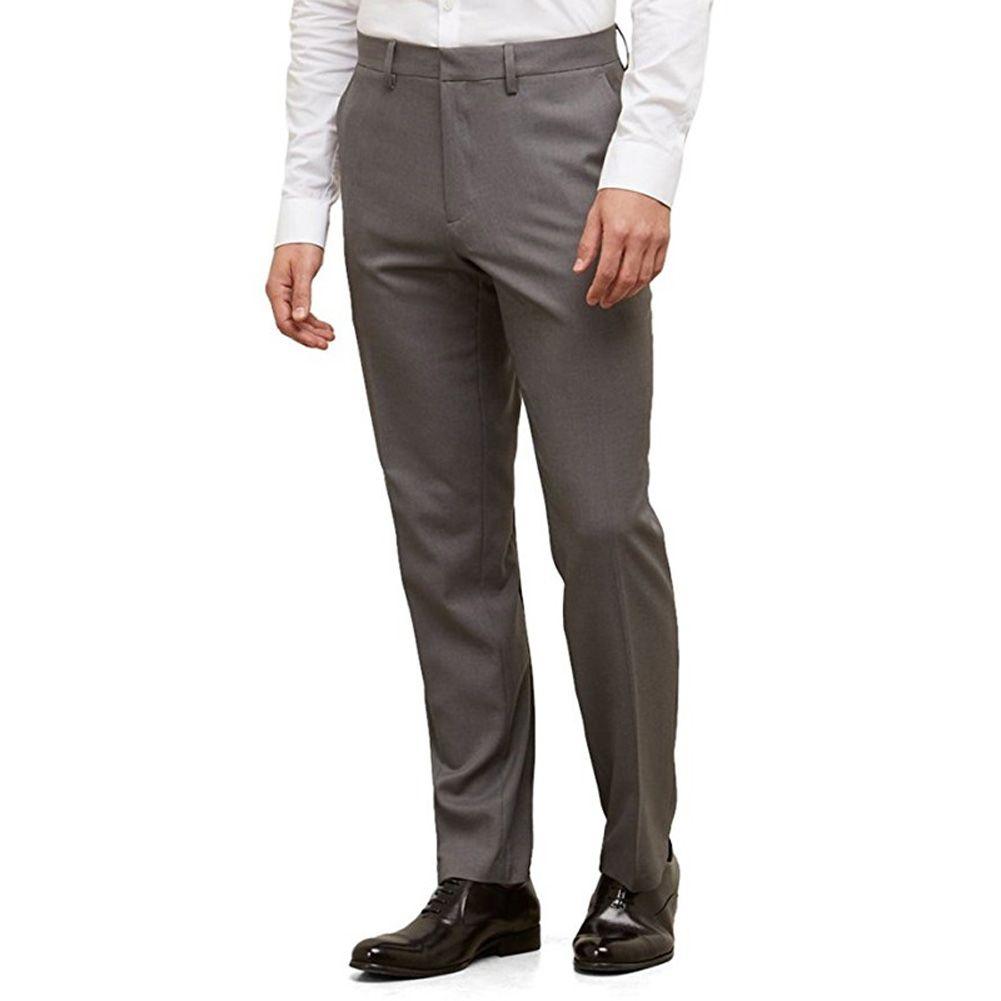 Compre Pantalones De Traje Frontal Para Hombre Pantalones Rectos De Pierna Recta Ajuste Elegante Pantalones De Vestir Formales Traje De Negocios Pantalones A 28 7 Del Dunhuang555 Dhgate Com