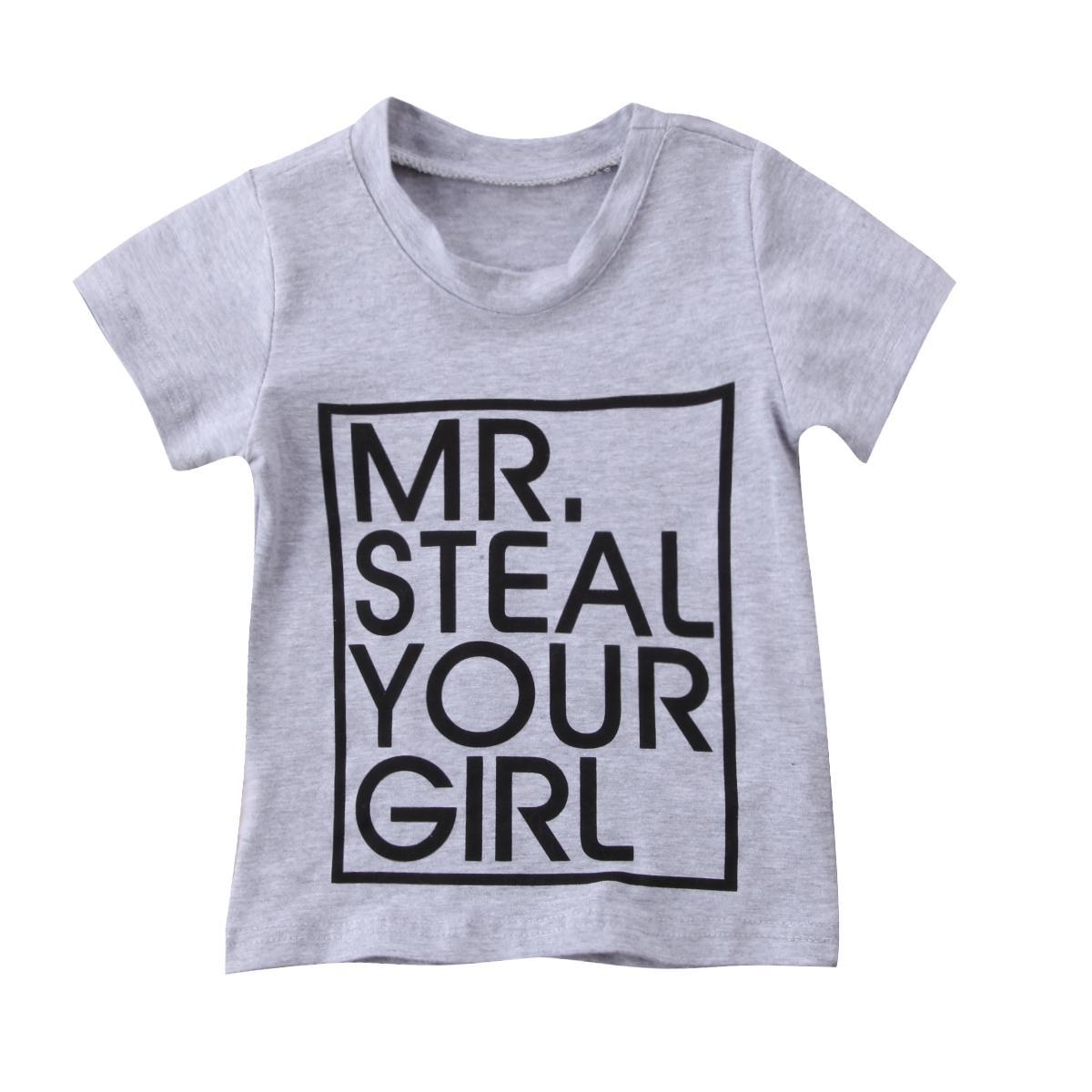 Pudcoco 2017 Kinder Baby-Kleidung Brief Cotton T-Shirts Outfits Tops beiläufige Mädchen Kleidung grau / schwarz