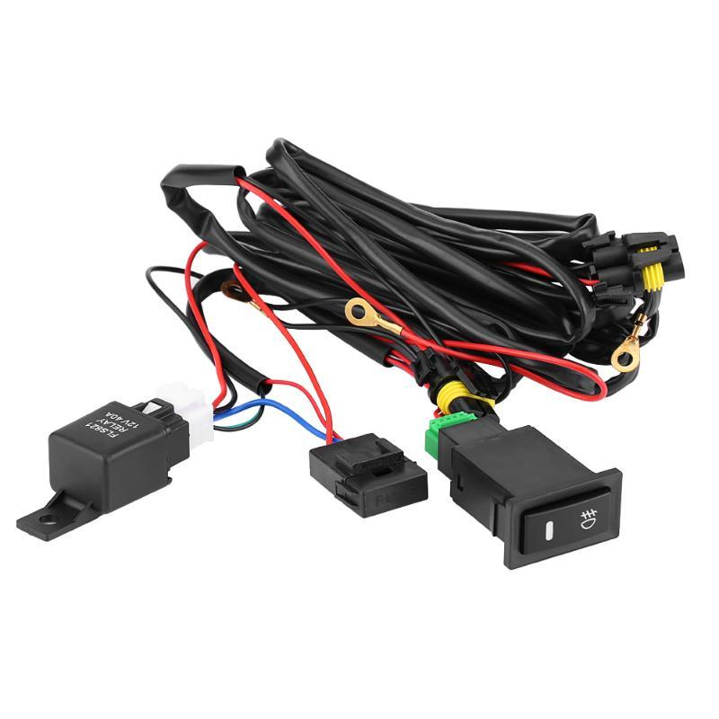 12V Universal Car LED Fog Light Illuminated On/Off Rocker Switch Wiring Harness Fuse 40 Amp Relay Kit More Than 10.7ft Of Wiring