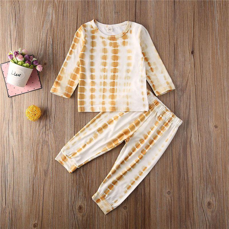 Muchachas del niño de ropa de niño tinte Imprimir camiseta de manga larga de la camiseta + pantalones pantalones 2pcs sistemas Niños niño ocasional dormir Trajes 1-5Y