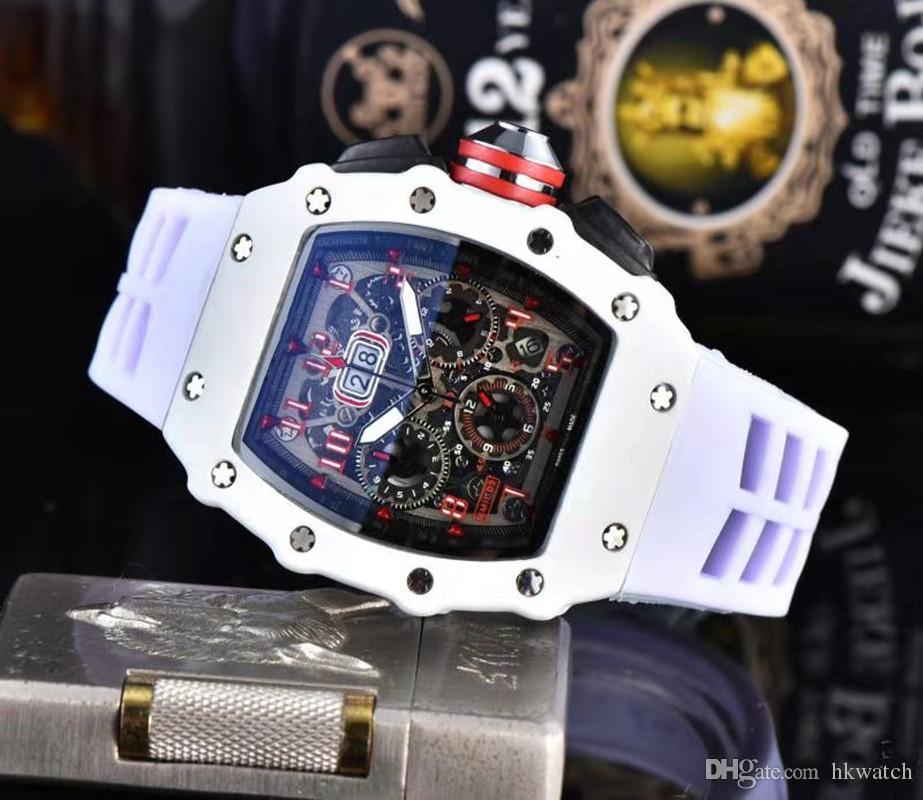 Toptan Yüksek Kalite Erkek İzle Tüm İş Chronograph Erkek Spor Kol Saati Kuvars Hareketi Kauçuk Kayış Klasik Tasarımcı Saatler Dial