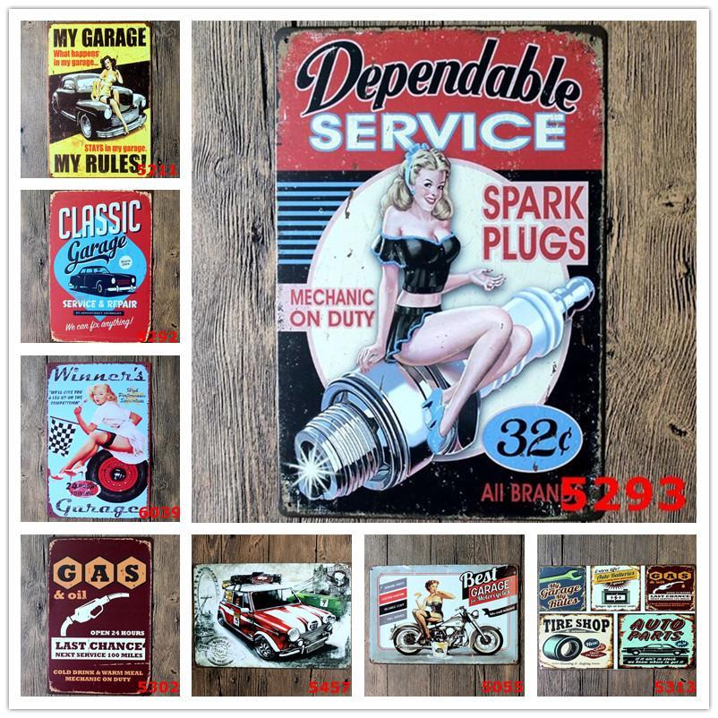 Métal étain signes réparation de voiture affiche de magasin Vintage Lady Plaques Plaques de fer décoratif Plaques de fer de fer barbecue Decor de mur 39 Designs