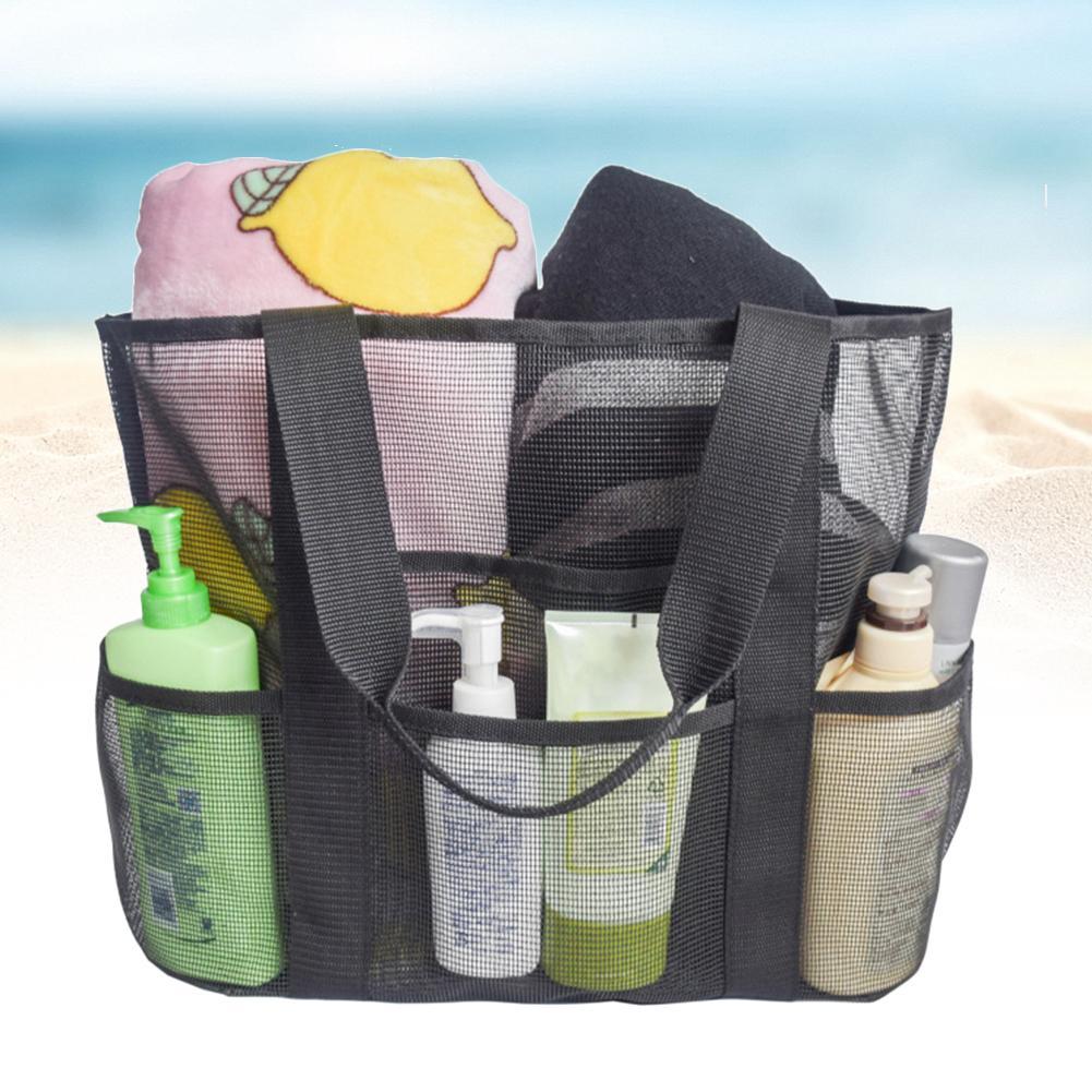 Malha Net Bolsa de Praia Grande Capacidade com bolsos Grocery Armazenamento Toy For Family Tote dobrável leve e portátil acampamento ao ar livre