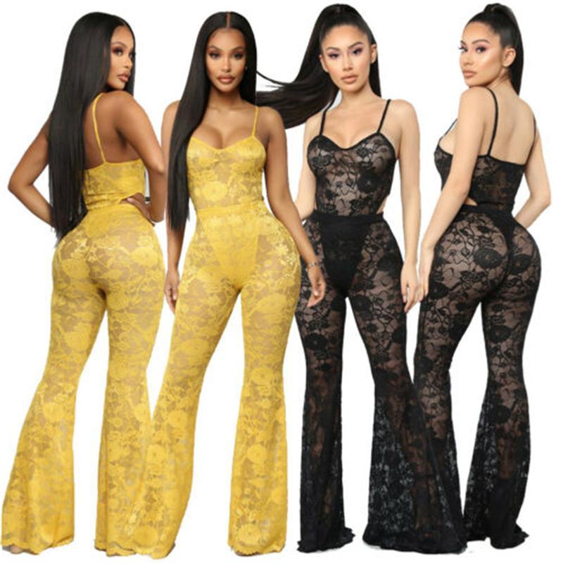 Mulheres Sexy Sheer Lace Crochet Macacão Romper Night Club Sem Mangas Playsuit Club wear Calças Bodycon Outfit