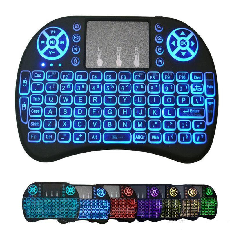 Wireless Mini-i8 teclado iluminado Backlight remoto Teclado Para Controle Android TV Box sem fio 2.4G Com Touch Pad Para Smart TV PC