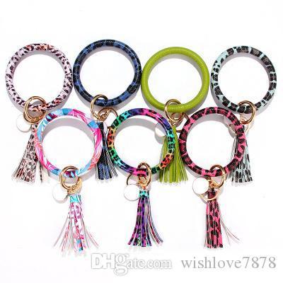 Fashion Trend Large PU Leather Bracelet Tassel Keychain Leopard Jewelry High Quality Circle Wristlet Bracelets Bangle Charm Pendant