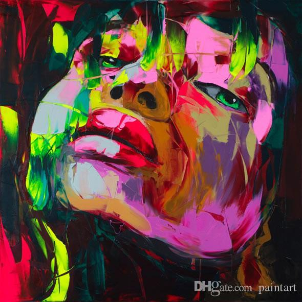 Francoise Nielly Palette Knife Impression Home Artworks Modern Portrait Handmade Oil Painting on Canvas Concave Convex Texture Face002
