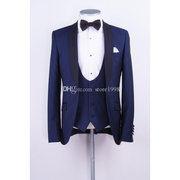Custom Made Groomsmen Shawl Lapel Groom Tuxedos One Button Men Suits Wedding/Prom/Dinner Best Man Blazer ( Jacket+Pants+Tie+Vest ) B517