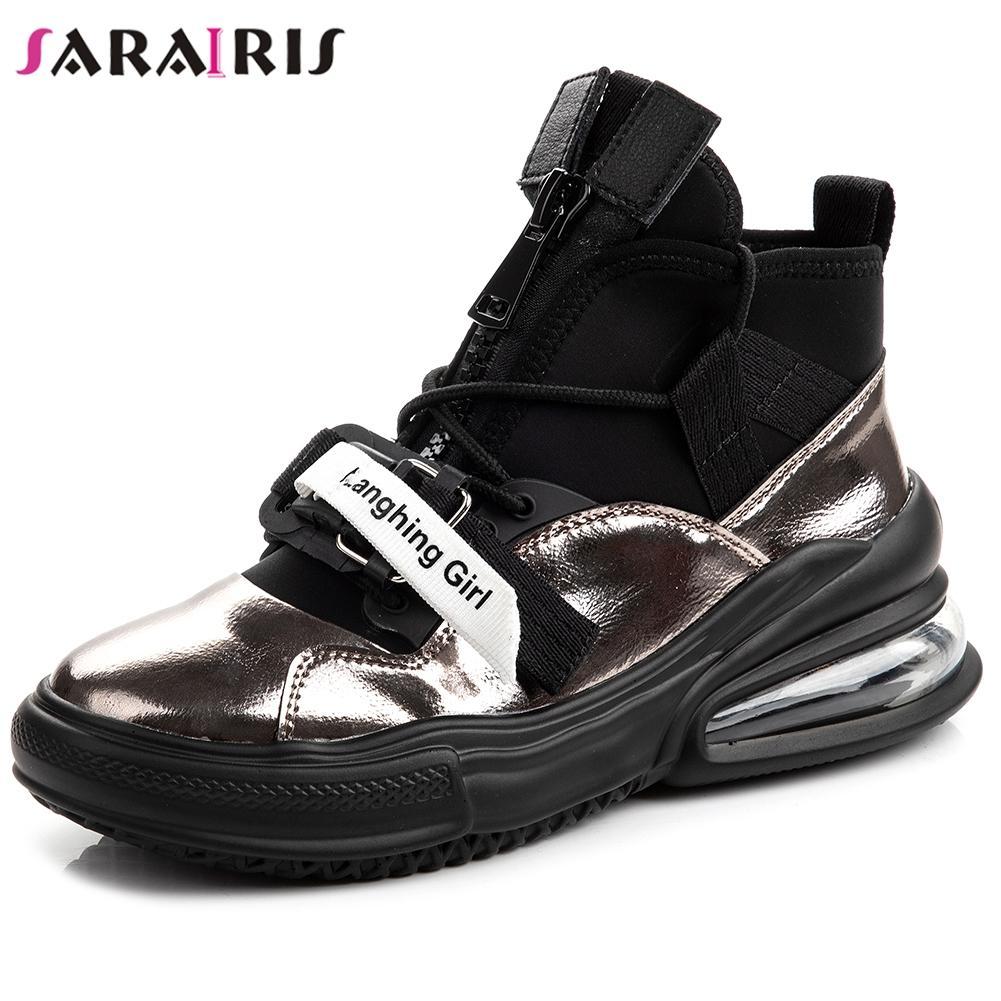 Sneakers in pelle genuini del SARAIRIS nuove donne di modo Zip Croce Legato scarpe piane della piattaforma Flats Donna Casuale Soft Top Quality