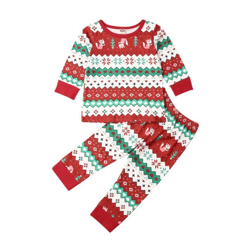 Tout-petit Enfant Bébé Garçon Fille Vêtements Noël Noël vêtements de nuit Pyjama Set PJS / BY