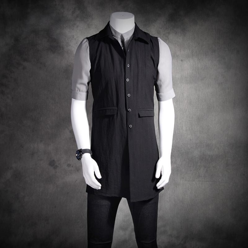 S -- 6XL!!! 2019 printemps et D'été Hommes Nouvelle Mode Personnalisé Coton et lin sans manches gilet plus la taille chanteur costumes