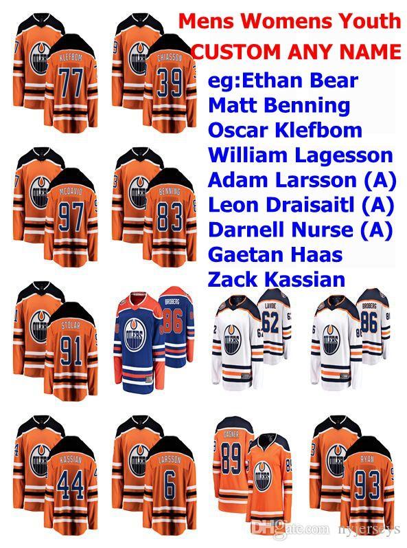 Edmonton Oilers maglie delle donne di Ethan Orso Jersey Matt Benning Oscar Klefbom William Lagesson Adam Larsson Hockey pullover su ordinazione cucita