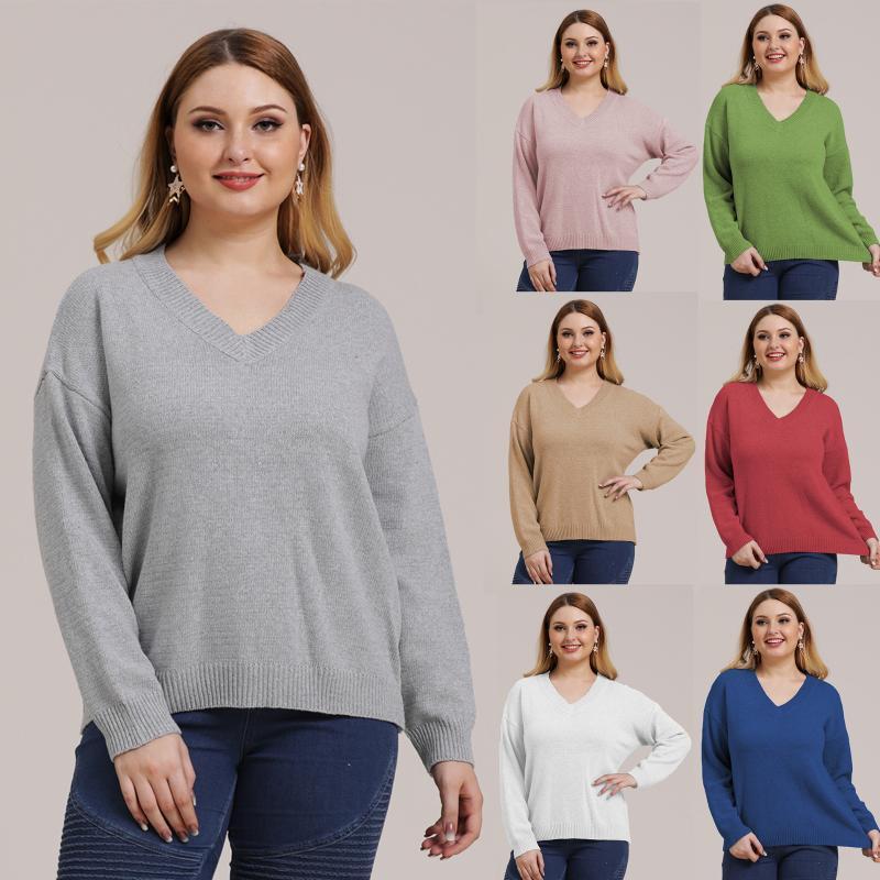 Big-Code Abnutzung der Frauen Solid Color Einfache Knitting V-Kragen-Pullover Pullover Langarm-Warmhalte Top A190705