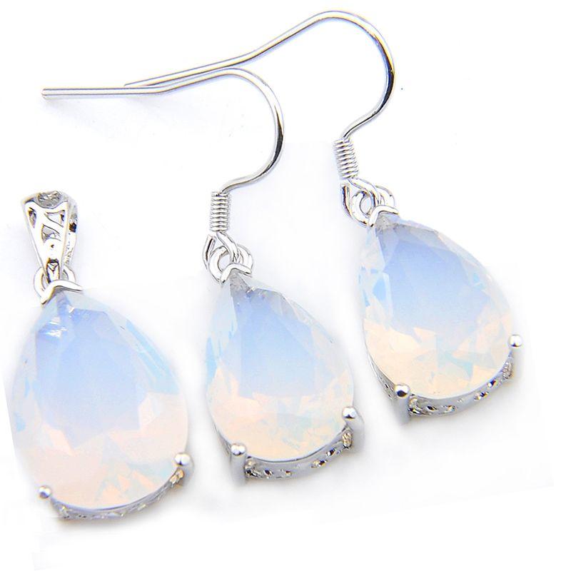 LuckyShine 5 conjuntos moda de la boda de agua caída piedra lunar colgantes / sistemas de los pendientes 925 joyería de plata regalo de la madre envíos gratis