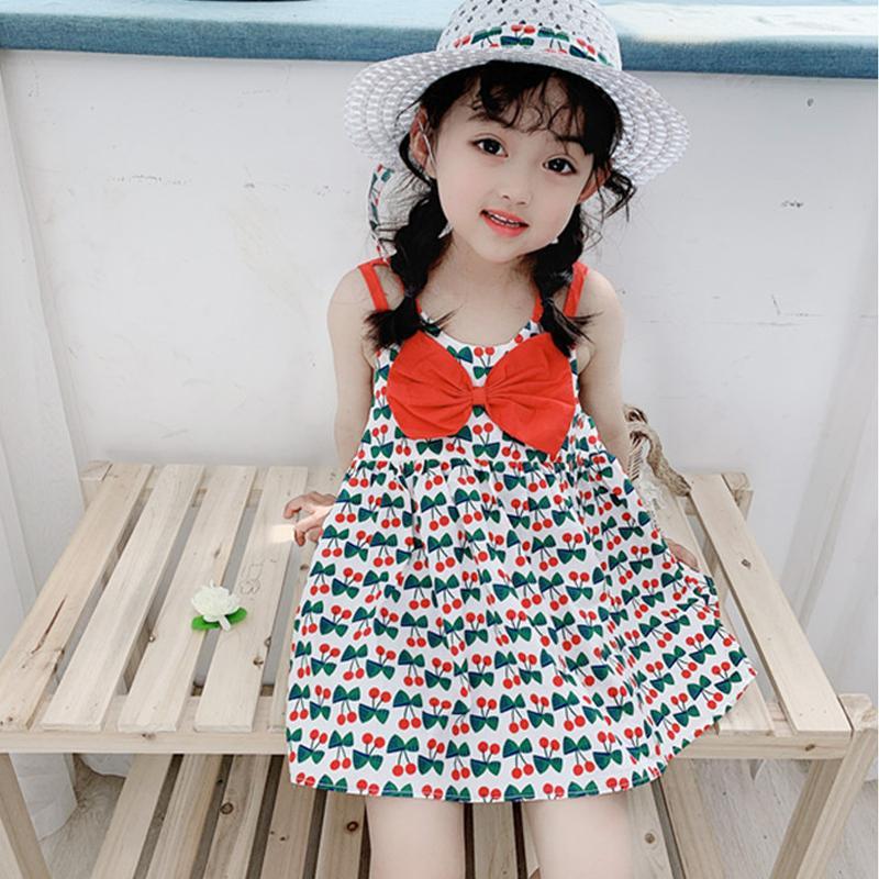 2020 nueva llegada caliente Ropa niños de los niños sin mangas del verano del ocio del algodón de vacaciones Pétalo ocasional de la manga vestido de flores las niñas