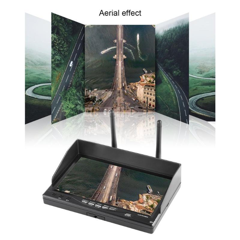 """7"""" HD OSD Display LCD-RX 5802 5.8GHz Diversity TFT LCD Screen Display Dual Receiver monitor with Sunshade Hood for RC FPV car"""