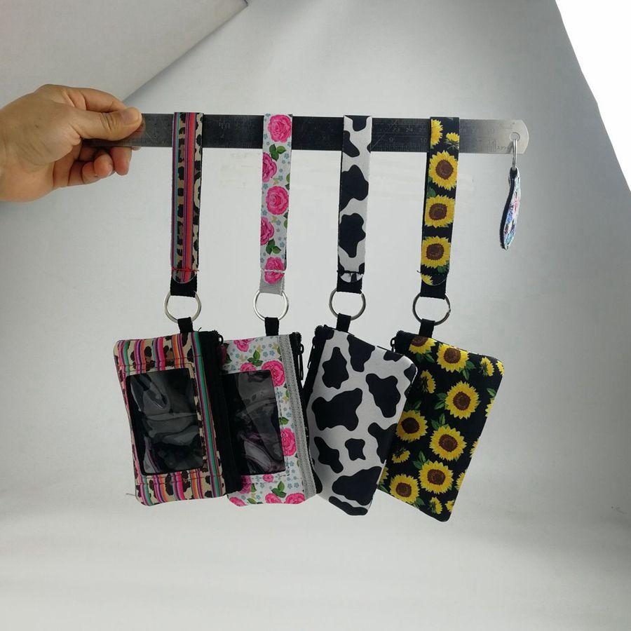 Soporte de ID de girasol Cuerda de cordón para mujer Niñas Zipper pulsera bolsa neopreno moneda billetera llaveros Pasaporte Titular Llavero Partido Favor de la fiesta RRA3195
