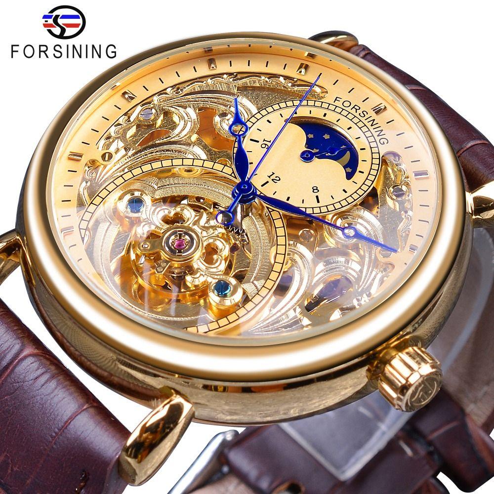 Forsining 2018 Royal Golden Skeleton Display Azul Mãos Brown Genuíno Cinto de Couro Mens Mecânica relógio relógio relógio masculino
