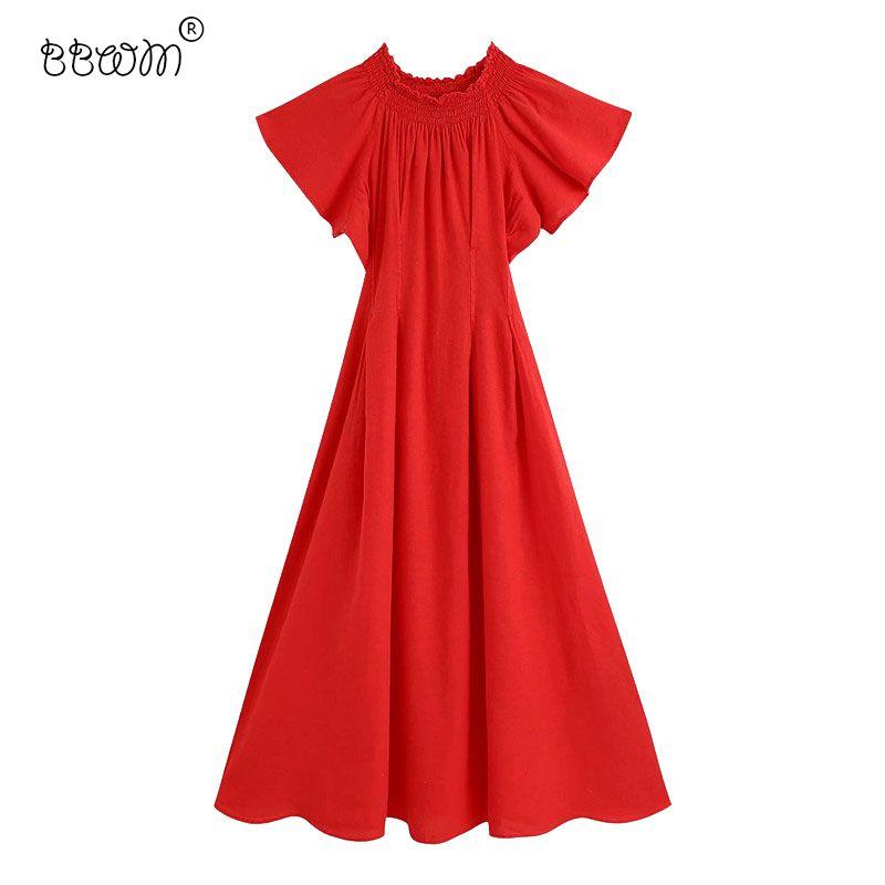 캐주얼 드레스 2021 여성 세련된 패션 레드 ruched 긴 드레스 빈티지 와이드 탄성 슬래시 목 뻗 칠한 슬리브 여성 의상