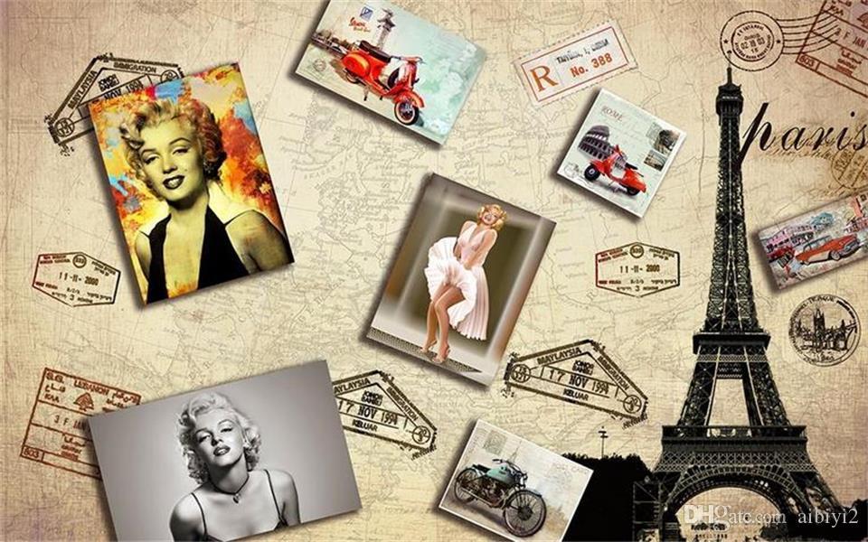 Personnalisé 3D Photo Papier Peint Murale Salon Lit Chambre Canapé TV Toile de Fond murale Marilyn Monroe Tour Image Papier Peint Autocollant Décor À La Maison