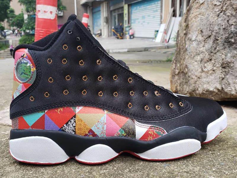 Zapatos CNY del Año Nuevo chino Jumpman 13S baloncesto de los hombres nuevos de la llegada 13 Negro Vela-metálicos en oro rojo verdadero atléticos zapatillas deportivas
