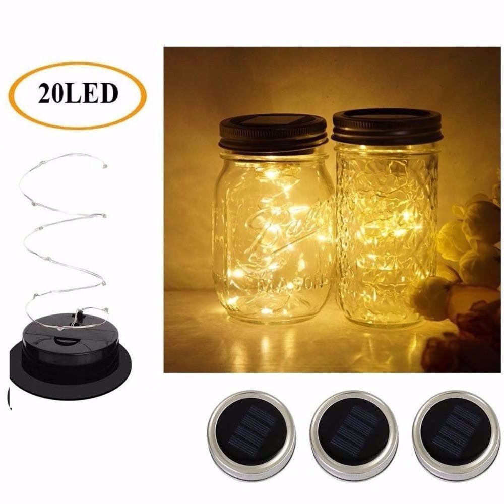 2M 20 LED Lichterketten Solar Power Fee Beleuchtung Deckel Einmachglas Abdeckung für Glas Mason Garten Weihnachten Hochzeit Dekor