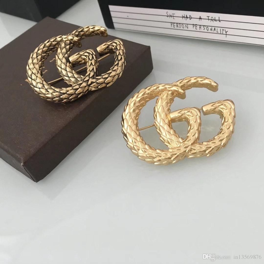 Las señoras femeninas de lujo de la moda estamparon el logotipo grande G broches pasadores con caja envío gratis