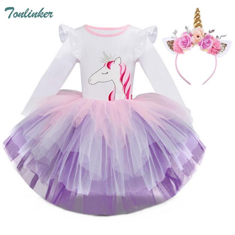 Compre Trajes De Unicornio Para Niñas Vestidos De Dibujos Animados Para Niños Vestido De Otoño Para Niños Vestido De Tutú Para Niñas Ropa Unicornio De