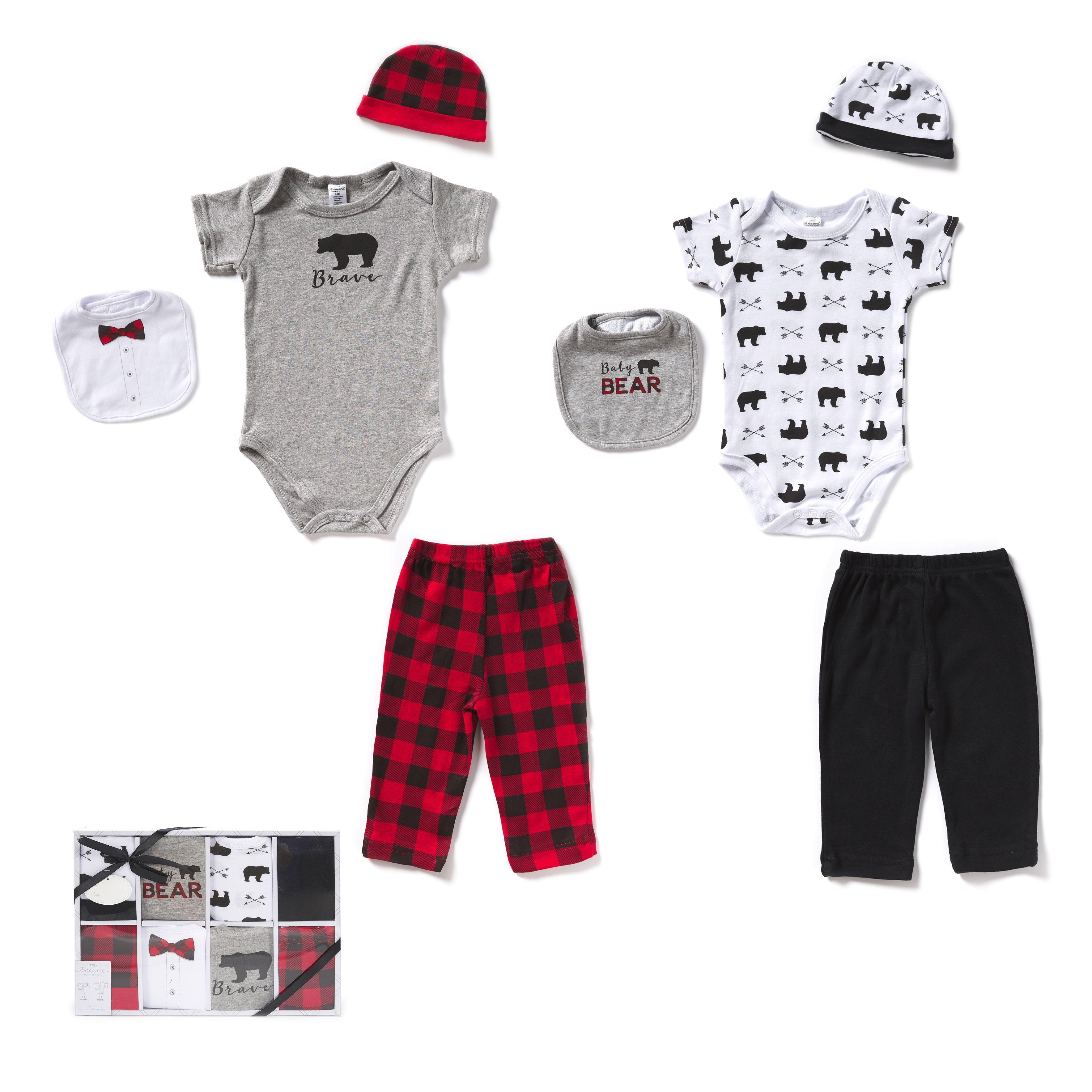 8PCS Newborn Clothes Set 100% algodão 0-6 meses Sets do bebê Gift Box Enxoval para meninos crianças