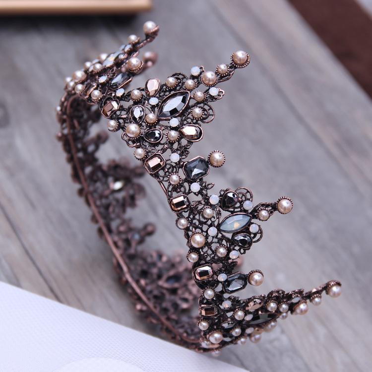Vintage Baroque Tiara Vintage Geometric Beads Tiaras Crowns Hairband Royal Queen Headband For Women Christmas Party Hair Jewelry Y19051302