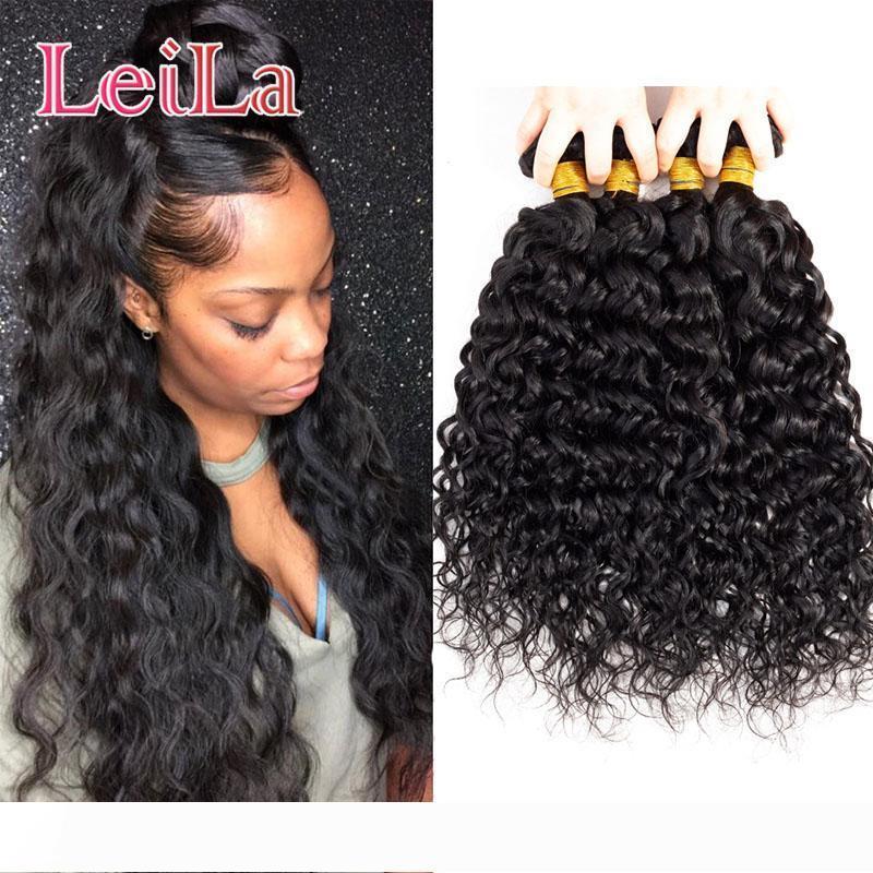 Malaisie 100% cheveux humains non transformés premières extensions de cheveux 8-28inch Vague 4 Bundles 8A gros Leila humide et onduleux