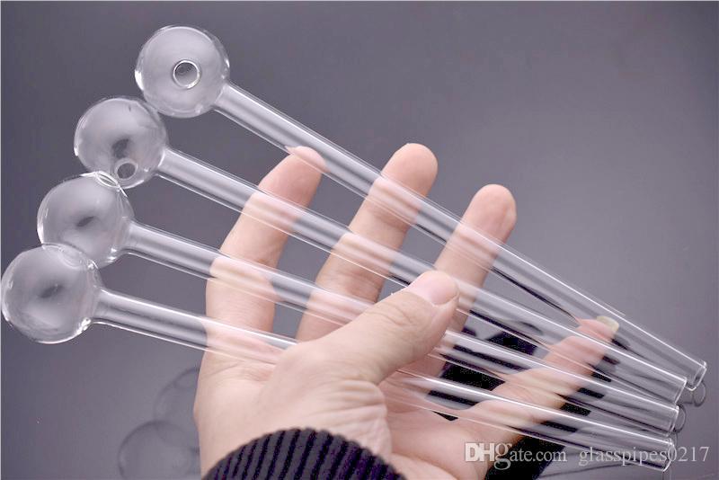 8 pollici trasparente Pyrex vetro bruciatore olio tubo 2mm di spessore tubo di vetro olio chiodo 20mm OD palla per acqua tubo di fumo bong di vetro olio rig narghilè Bubbler