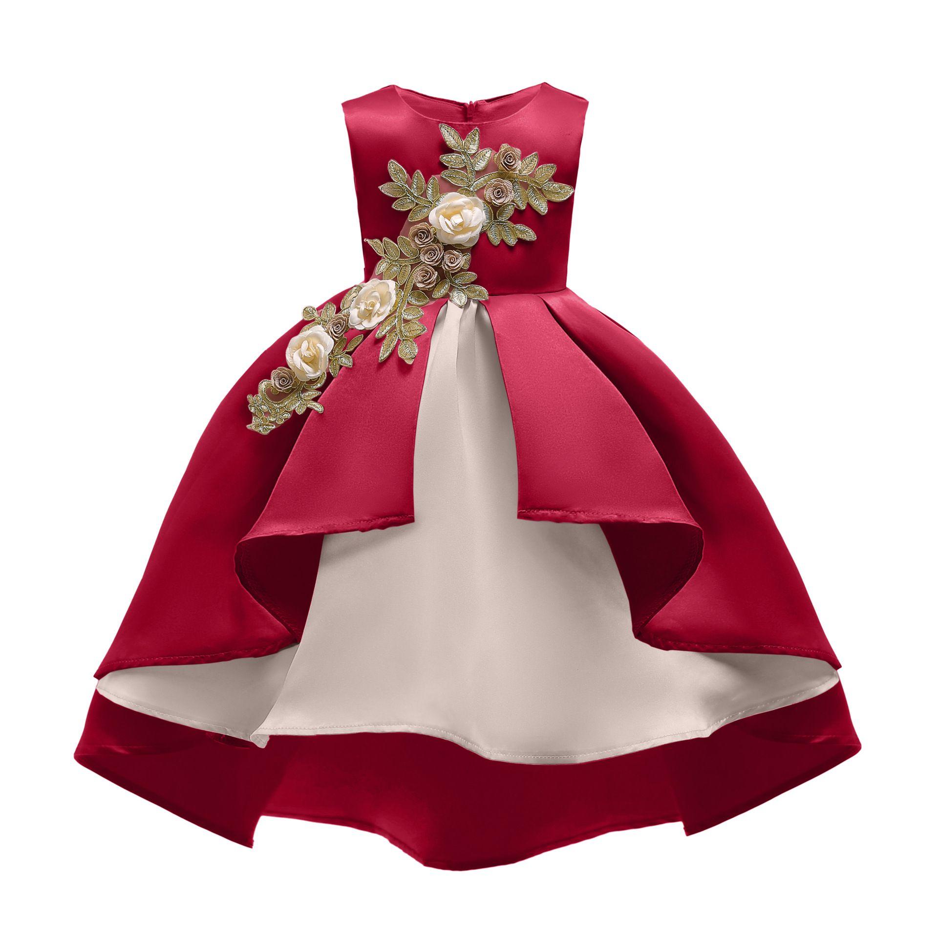 Retail Baby Girls wedding dress 2019 Kids Irregular Embroidered Prom Dress Red Champagne Children Girls Satin Full dress Boutique clothes
