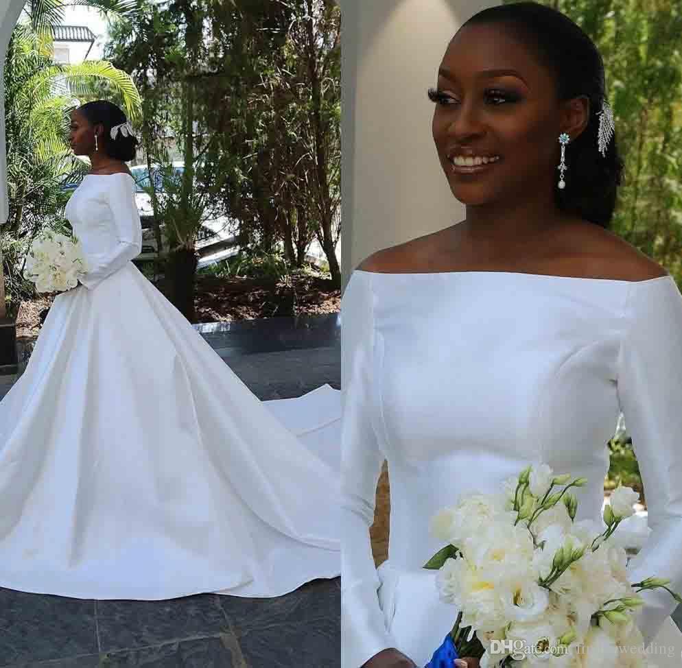 Африканский Белый Свадебные платья Line Off Плечо Длинные рукава Деревня Сад невесты Свадебные платья плюс размер сшитое